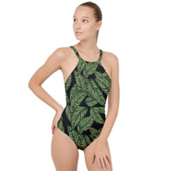 Tropical Leaves On Black High Neck One Piece Swimsuit