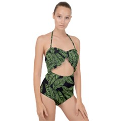 Tropical Leaves On Black Scallop Top Cut Out Swimsuit