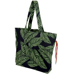 Tropical Leaves On Black Drawstring Tote Bag