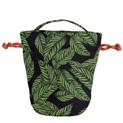 Tropical Leaves On Black Drawstring Bucket Bag