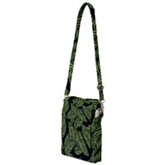 Tropical Leaves On Black Multi Function Travel Bag