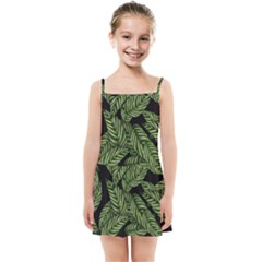 Tropical Leaves On Black Kids Summer Sun Dress
