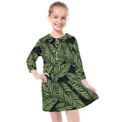 Tropical Leaves On Black Kids  Quarter Sleeve Shirt Dress