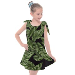Tropical Leaves On Black Kids  Tie Up Tunic Dress