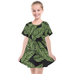 Tropical Leaves On Black Kids  Smock Dress