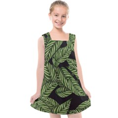 Tropical Leaves On Black Kids  Cross Back Dress