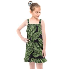 Tropical Leaves On Black Kids  Overall Dress