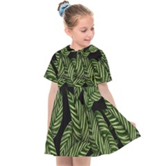 Tropical Leaves On Black Kids  Sailor Dress