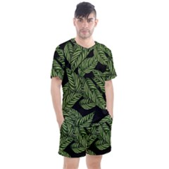 Tropical Leaves On Black Men s Mesh Tee And Shorts Set