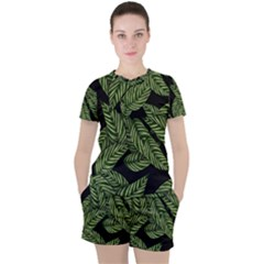 Tropical Leaves On Black Women s Tee And Shorts Set