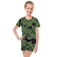 Tropical Leaves On Black Kids  Mesh Tee And Shorts Set