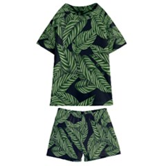 Tropical Leaves On Black Kids  Swim Tee And Shorts Set