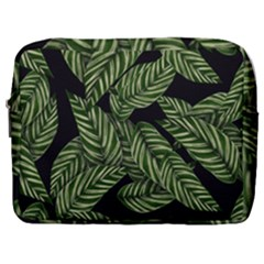 Tropical Leaves On Black Make Up Pouch (large)