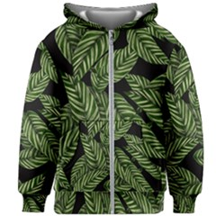 Tropical Leaves On Black Kids Zipper Hoodie Without Drawstring