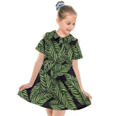 Tropical Leaves On Black Kids  Short Sleeve Shirt Dress