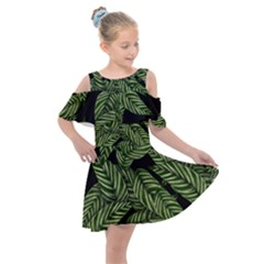 Tropical Leaves On Black Kids  Shoulder Cutout Chiffon Dress