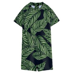 Tropical Leaves On Black Kids  Boyleg Half Suit Swimwear