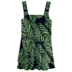 Tropical Leaves On Black Kids  Layered Skirt Swimsuit