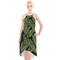 Tropical Leaves On Black High Low Halter Chiffon Dress