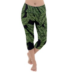 Tropical Leaves On Black Lightweight Velour Capri Yoga Leggings