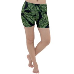 Tropical Leaves On Black Lightweight Velour Yoga Shorts