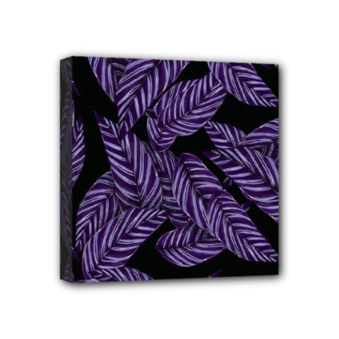 Tropical Leaves Purple Mini Canvas 4  X 4  (stretched)