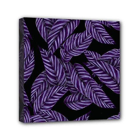 Tropical Leaves Purple Mini Canvas 6  X 6  (stretched)