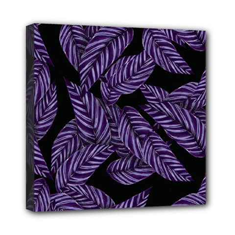 Tropical Leaves Purple Mini Canvas 8  X 8  (stretched)