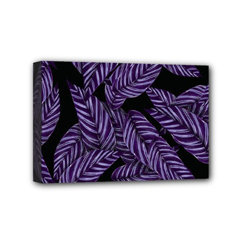 Tropical Leaves Purple Mini Canvas 6  X 4  (stretched)