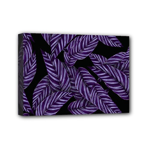 Tropical Leaves Purple Mini Canvas 7  X 5  (stretched)