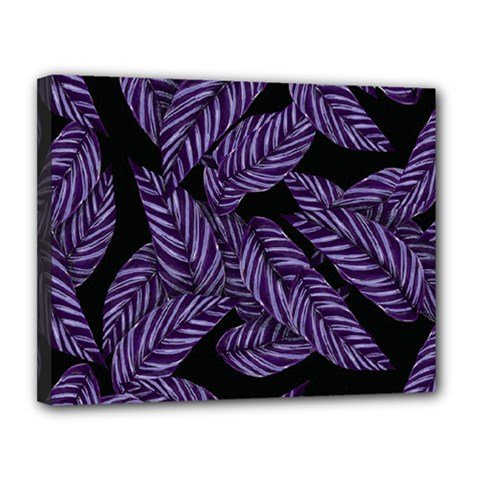 Tropical Leaves Purple Canvas 14  X 11  (stretched)