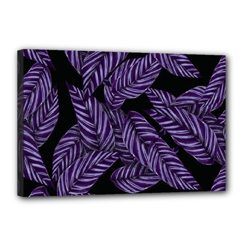 Tropical Leaves Purple Canvas 18  X 12  (stretched)