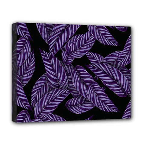 Tropical Leaves Purple Deluxe Canvas 20  X 16  (stretched)
