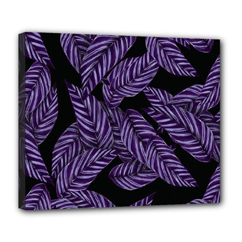Tropical Leaves Purple Deluxe Canvas 24  X 20  (stretched)
