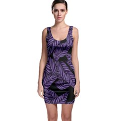 Tropical Leaves Purple Bodycon Dress