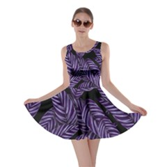 Tropical Leaves Purple Skater Dress