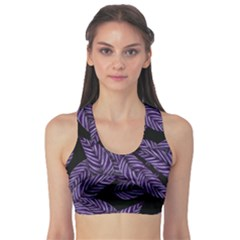 Tropical Leaves Purple Sports Bra