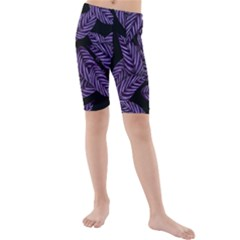Tropical Leaves Purple Kids  Mid Length Swim Shorts