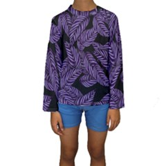 Tropical Leaves Purple Kids  Long Sleeve Swimwear