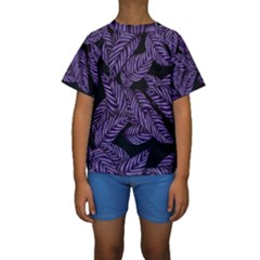 Tropical Leaves Purple Kids  Short Sleeve Swimwear