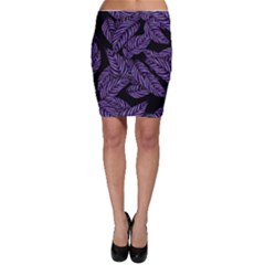 Tropical Leaves Purple Bodycon Skirt