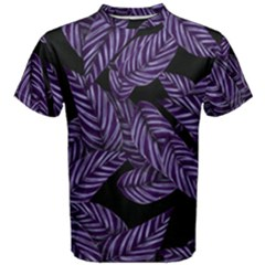 Tropical Leaves Purple Men s Cotton Tee