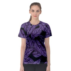 Tropical Leaves Purple Women s Sport Mesh Tee