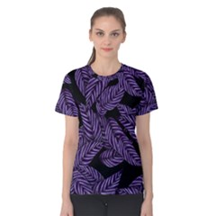 Tropical Leaves Purple Women s Cotton Tee