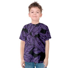 Tropical Leaves Purple Kids  Cotton Tee