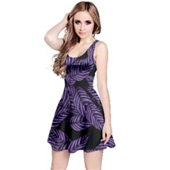 Tropical Leaves Purple Reversible Sleeveless Dress