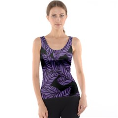 Tropical Leaves Purple Tank Top