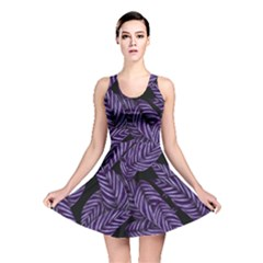 Tropical Leaves Purple Reversible Skater Dress