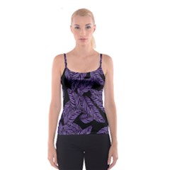 Tropical Leaves Purple Spaghetti Strap Top