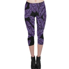 Tropical Leaves Purple Capri Leggings